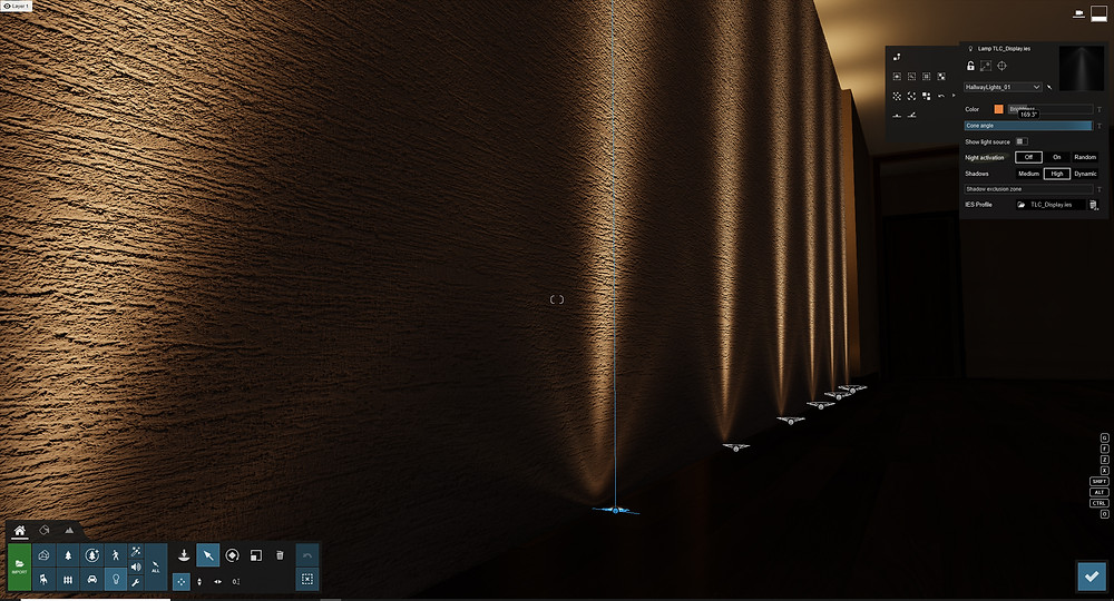 Image showing light cone angle in a hallway scene. Image by The Lumion Collective