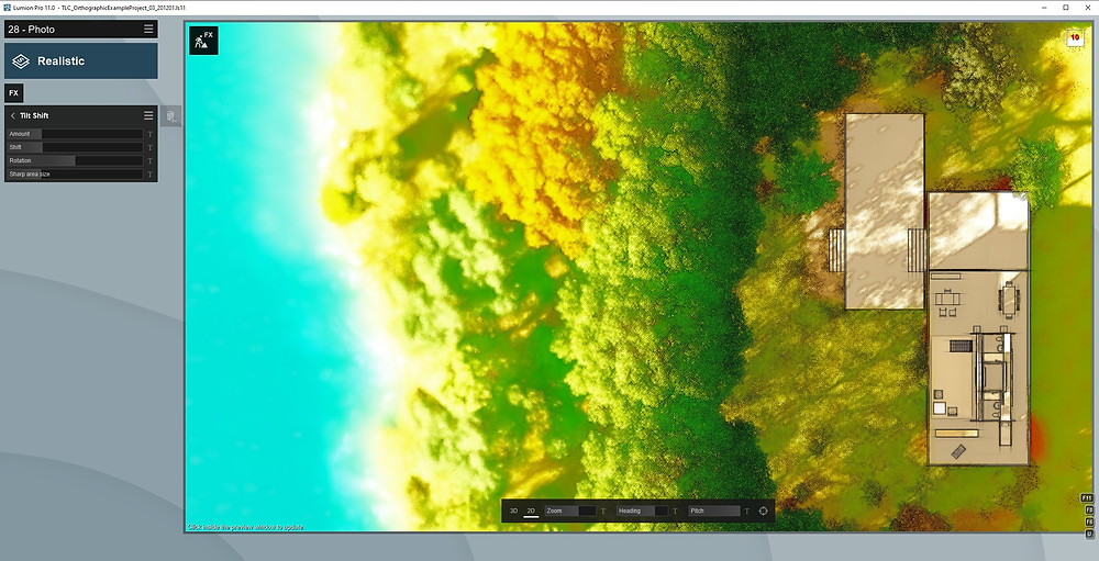 Image of Lumion UI Showing Tilt Shift Effect Settings. Image by The Lumion Collective.