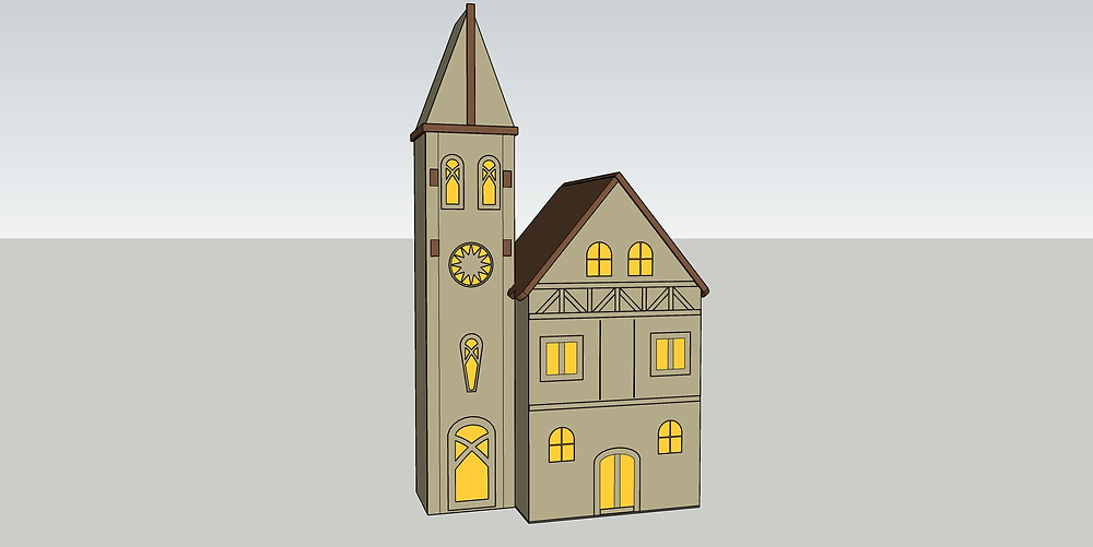 3D model of miniature christmas scene modelled in Sketchup Pro by The Lumion Collective