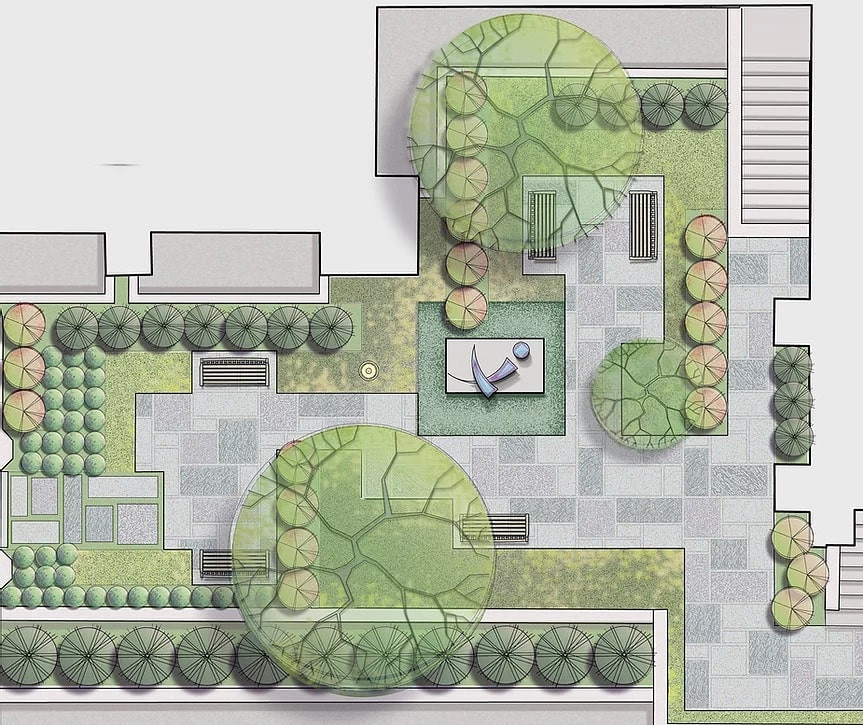 Image of Yuag Cultural Garden Plan Designed and Illustrated by Towers Golde