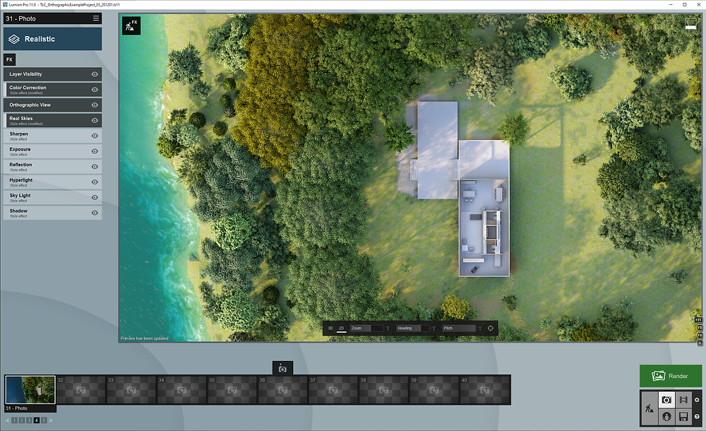 Image of Lumion UI Showing Realistic Effects. Image by The Lumion Collective.
