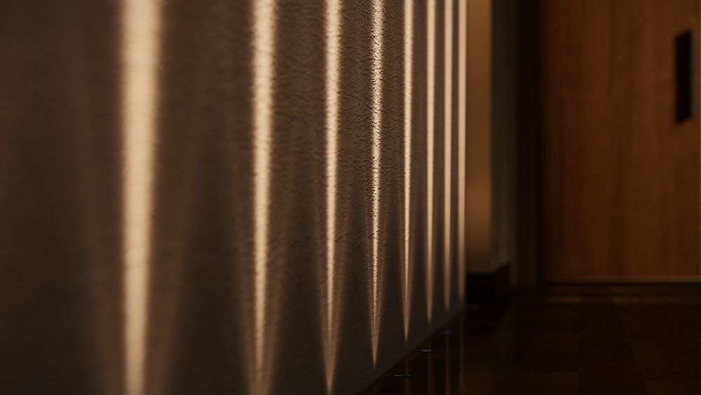 Image showing spotlight refraction in a hallway scene. Image by The Lumion Collective
