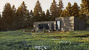 Axel House, exterior visualisation showing archi-blox house in forest, render by Ark Visuals