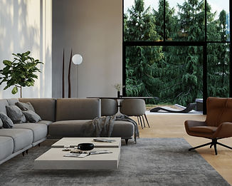 Pine view, interior render of living room by Ark Visuals