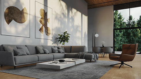 Pine View, Interior Visualisation of Living and Dining Area with Forest in Background, 3D Render by Ark Visuals