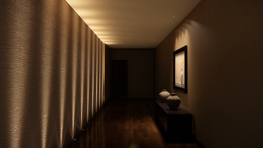 Image showing final lighting in a hallway scene. Image by The Lumion Collective