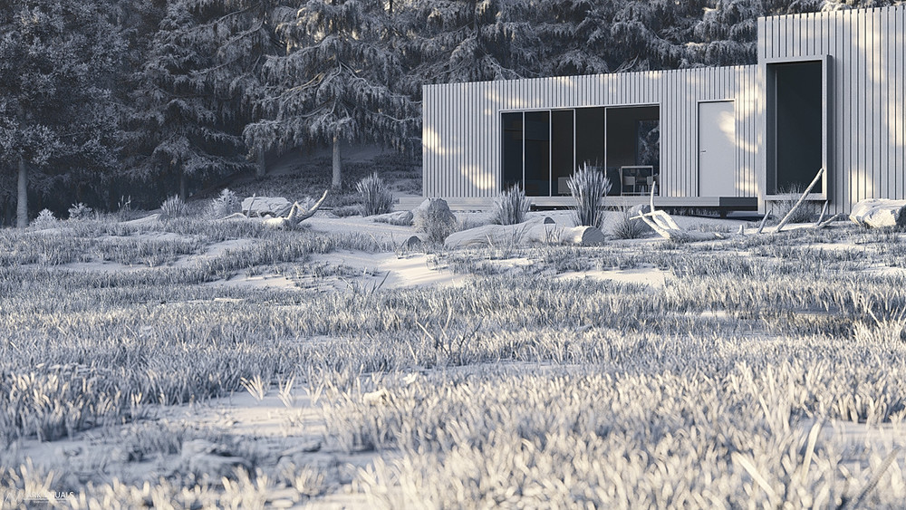 Axel House Lumion Clay Render Showing Environment Details