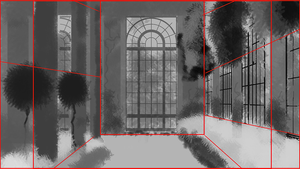 Concept Art Showing Compositional Framing Lines for Longwood by The Lumion Collective