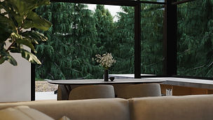 Pine View, interior visualisation showing flowers on table and forest backdrop, render by Ark Visuals