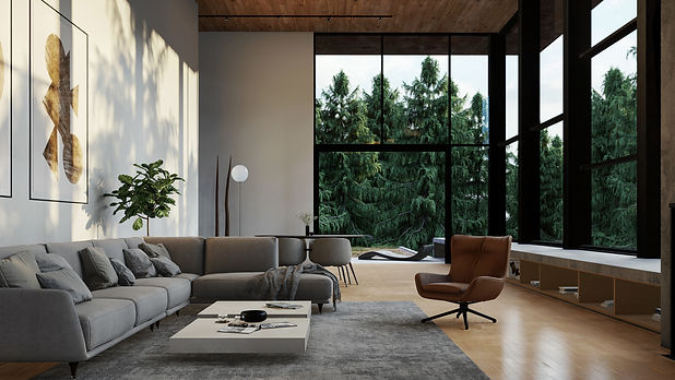 Pine View, Interior Visualisation of Living Room with Forest Backdrop, Render by Ark Visuals