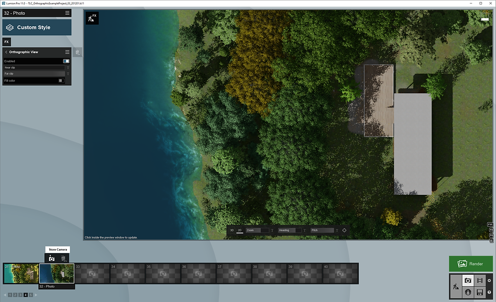 Image of Lumion UI Showing Orthographic View Effect in Lumion. Image By The Lumion Collective.