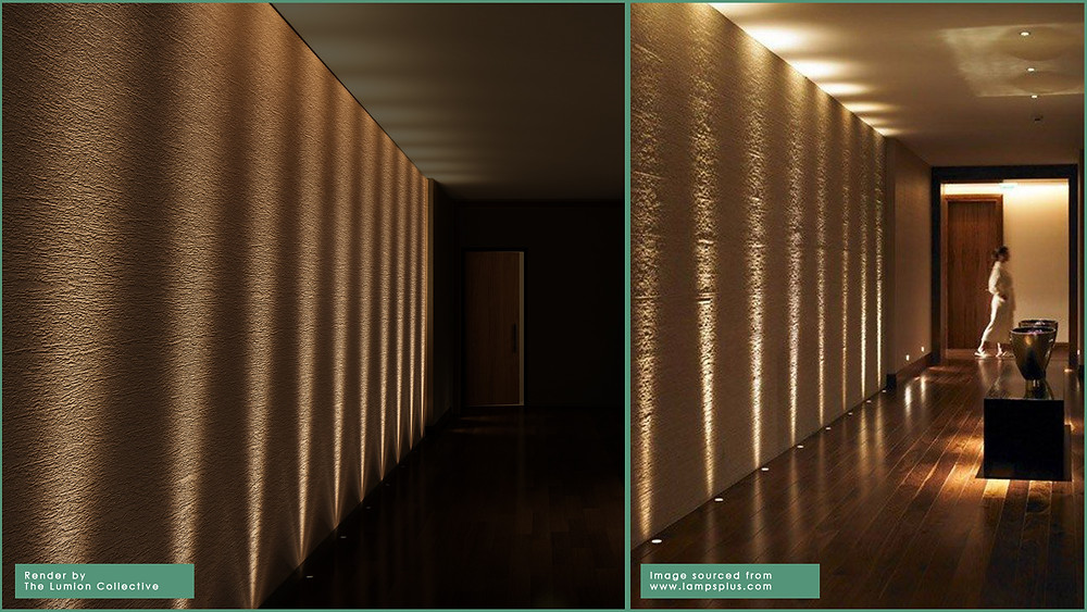 Image showing reference to render comparison in a hallway scene. Image by The Lumion Collective