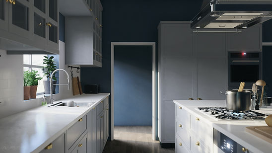 The Craftsman, Visualisation of Galley Style Kitchen, Inspired by IKEA Design, 3D Render by Ark Visuals