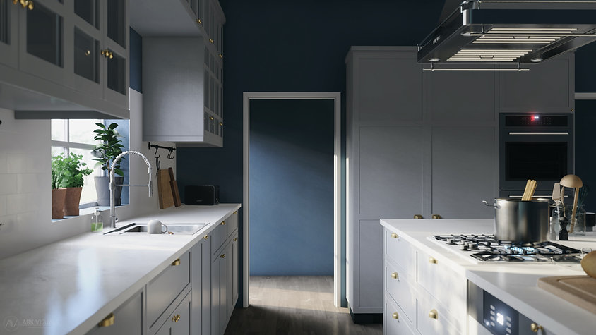 The Craftsman, Interior Visualization of Craftsman Style Kitchen Inspired by IKEA Design, 3D Render by Ark Visuals