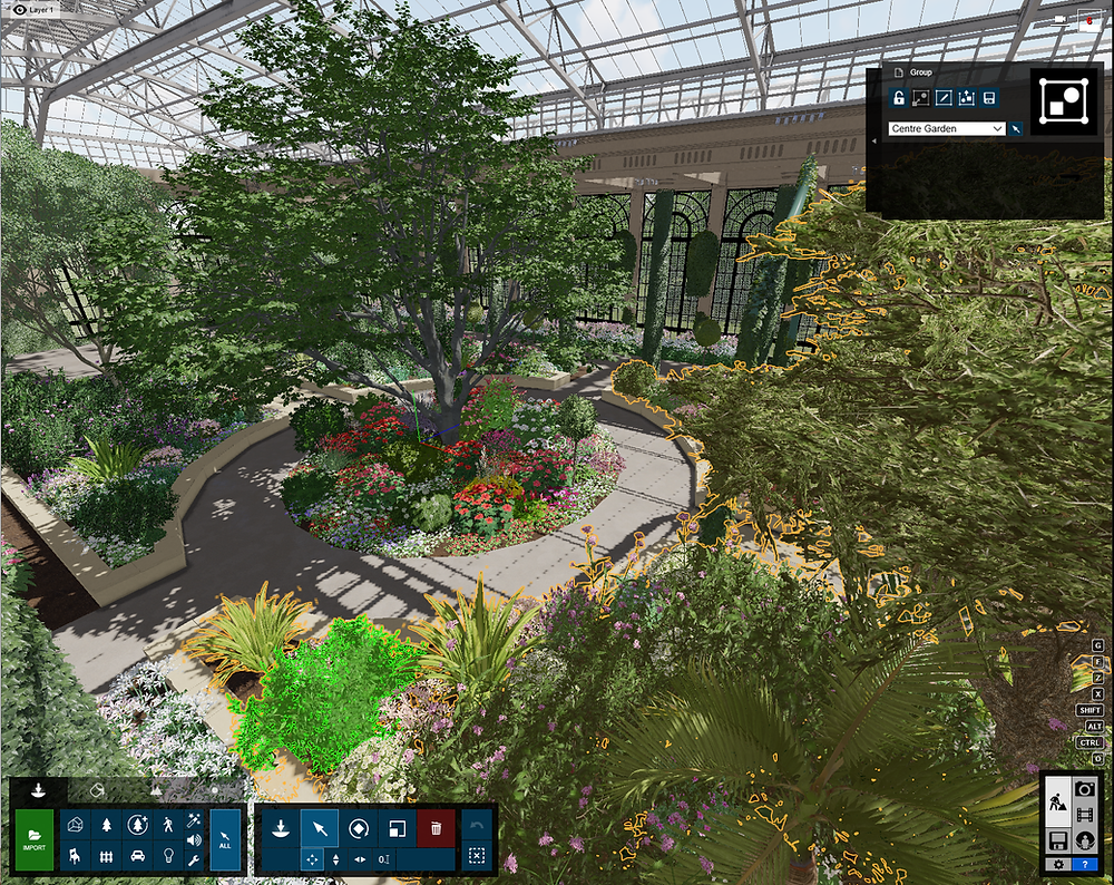 Image Showing Lumion Final Garden Setup in Longwood. Image by The Lumion Collective