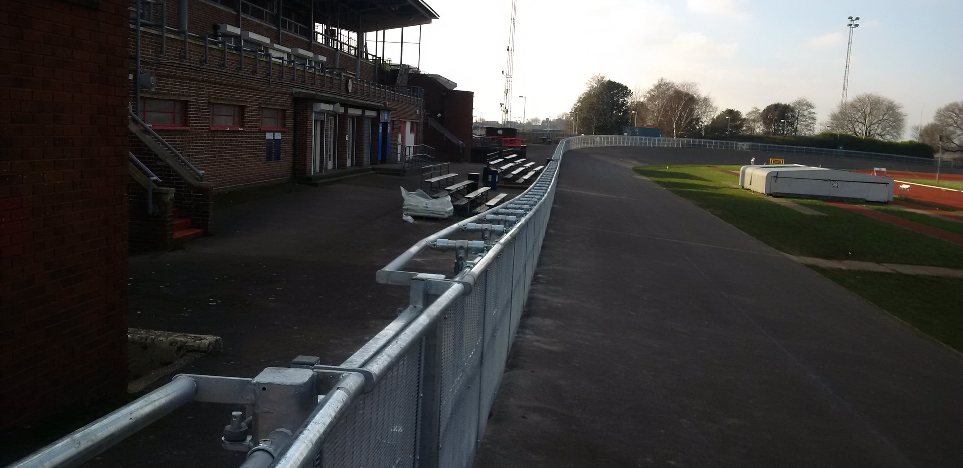 KITE Projects - Mountbatten Velodrome - KITE Handrail with Mesh Infill
