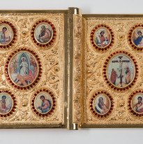 Gold Plated Gospel with stones and icons-- LG1A