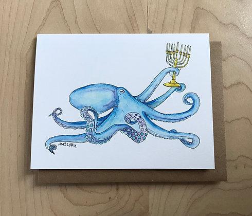 Eight Nights Hanukkah Octopus Card