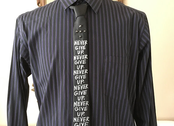 """NEVER GIVE UP 2"""" Skinny Necktie"""
