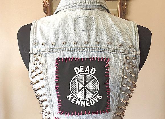 DEAD KENNEDYS/ DEAD BOYS/ BLONDIE/ IGGY/ CRIME Denim Studded Punk Vest, Size S