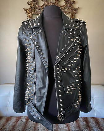 High Quality Lightweight Lambskin Leather Studded Motorcycle Jacket, M