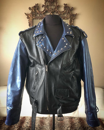 Blue Metallic Spiked Biker, Upcycled,  Size 52