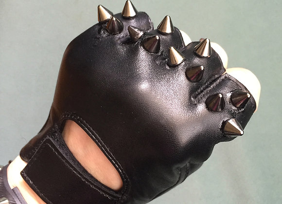 Black Leather w 3 Black Spikes
