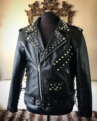 Punk Studded Motorcycle Jacket w/ 3 kinds of studs, New, Large, Size 44