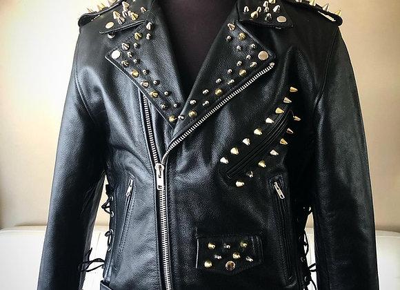Punk Studded Motorcycle Jacket w/ 3 kinds of studs, New, Large, Size 44
