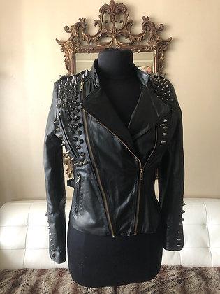 Black Spiked Black Leather Moto Jacket, Upcycled, Size 4-6P