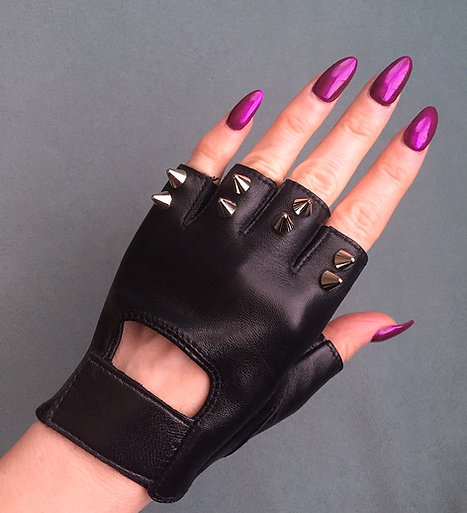 Custom Womens Spike Fingerless Leather Gloves - 2 spike