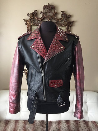 Red Metallic Spiked Biker, Upcycled,  Size 40