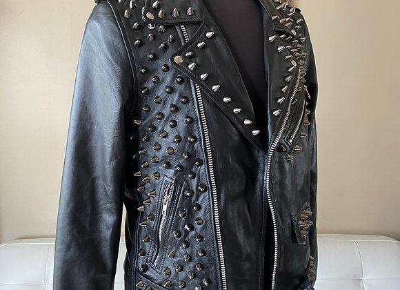 High Quality Lambskin Leather w Black Studs, L