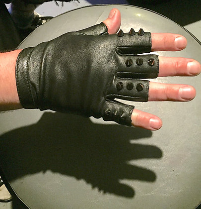 Mens Spike Fingerless Leather Gloves, M