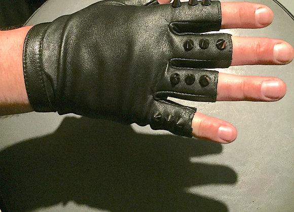 Mens Spike Fingerless Leather Gloves, M