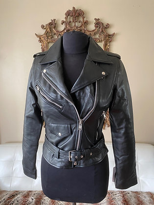 Women's Lambskin Lightweight Leather Biker with Epaulettes & Belt