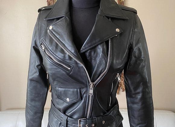 Women's Lambskin Lightweight Leather Biker with Epaulettes & Belt
