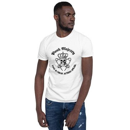 White Unisex T-Shirt, 100% Cotton Punk Majesty Talk is Cheap