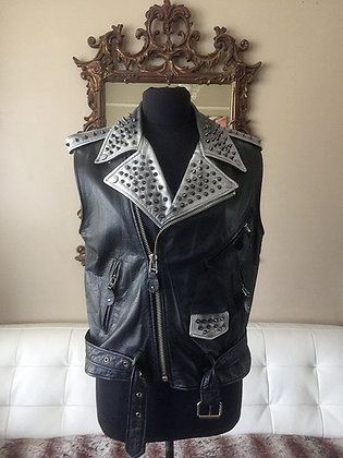 Spiked Motorcycle Vest, Upcycled Unisex Womens M/ Mens 38