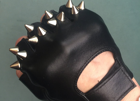 Black Leather w 3 Silver Spikes