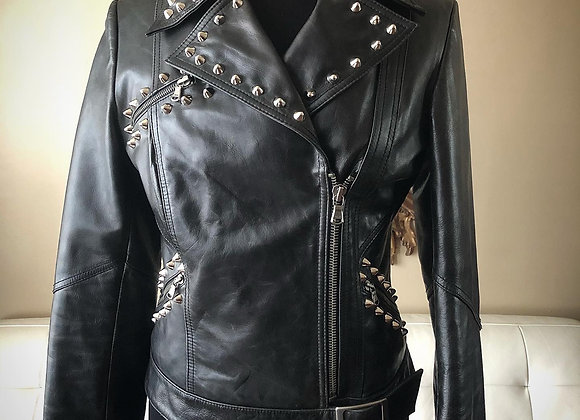 Rocker Motorcyle Jacket with Back Zips and Side Buckle, M
