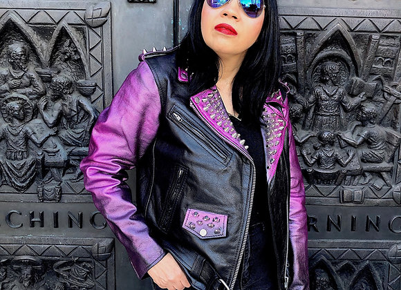 """Pink """"Distressed Look"""" Metallic Studded Motorcycle Jacket, New, Size M"""