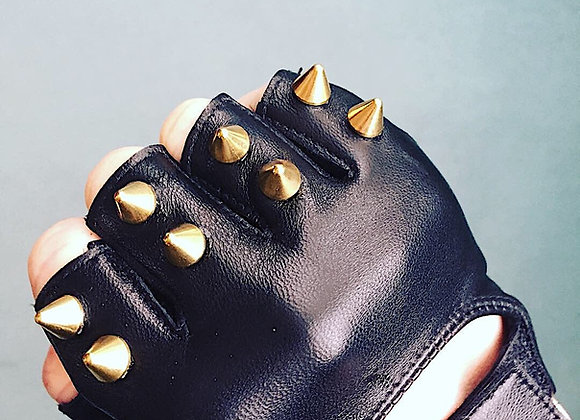 Black Leather with 2 Brass Spikes