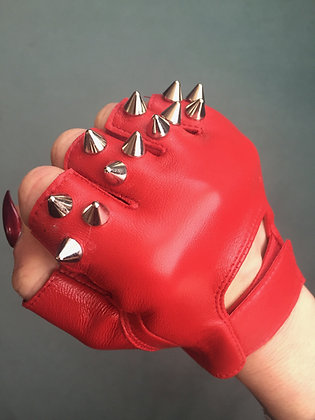 Red Leather w 3 Silver Spikes