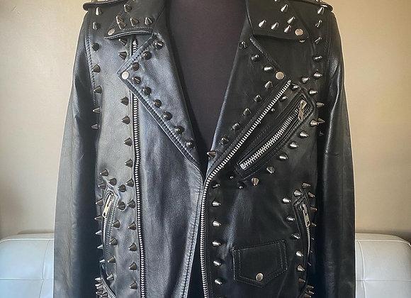 High Quality Lambskin Leather w Black Studs, XL