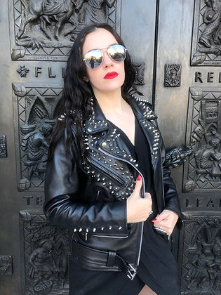 Silver Studded Rocker Motorcycle Jacket, New, Size S
