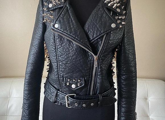 Vegan Studded Motorcycle Jacket, M