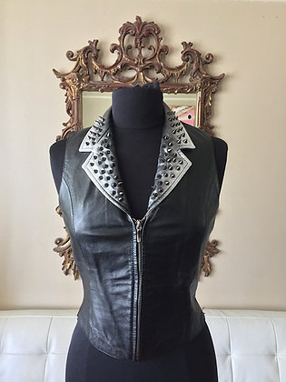 Black Leather Spiked Vest, Upcycled Womens S & L