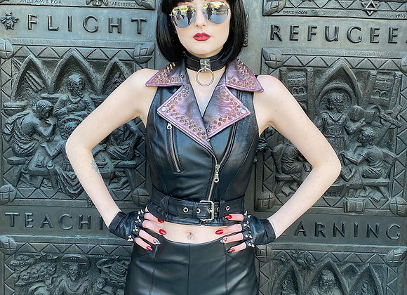 Red Metallic Detailed Studded Leather Motorcycle Biker Vest, XS
