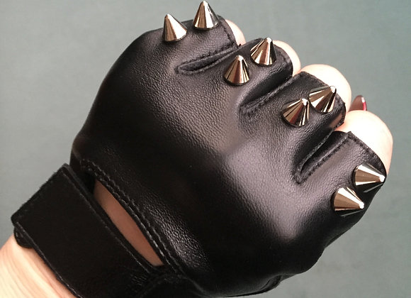 Black Leather with 2 Silver Spikes